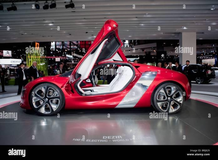 paris, france, paris car show, renault electric car, dezir concept