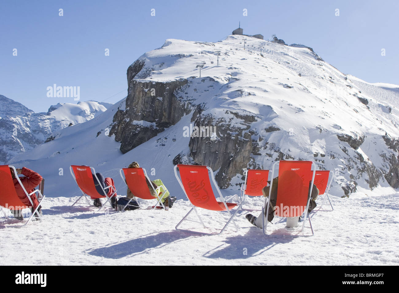 Sunbathing Chairs Swiss Alps Ski Resort Jungfrauregion Sunbathing Chairs In