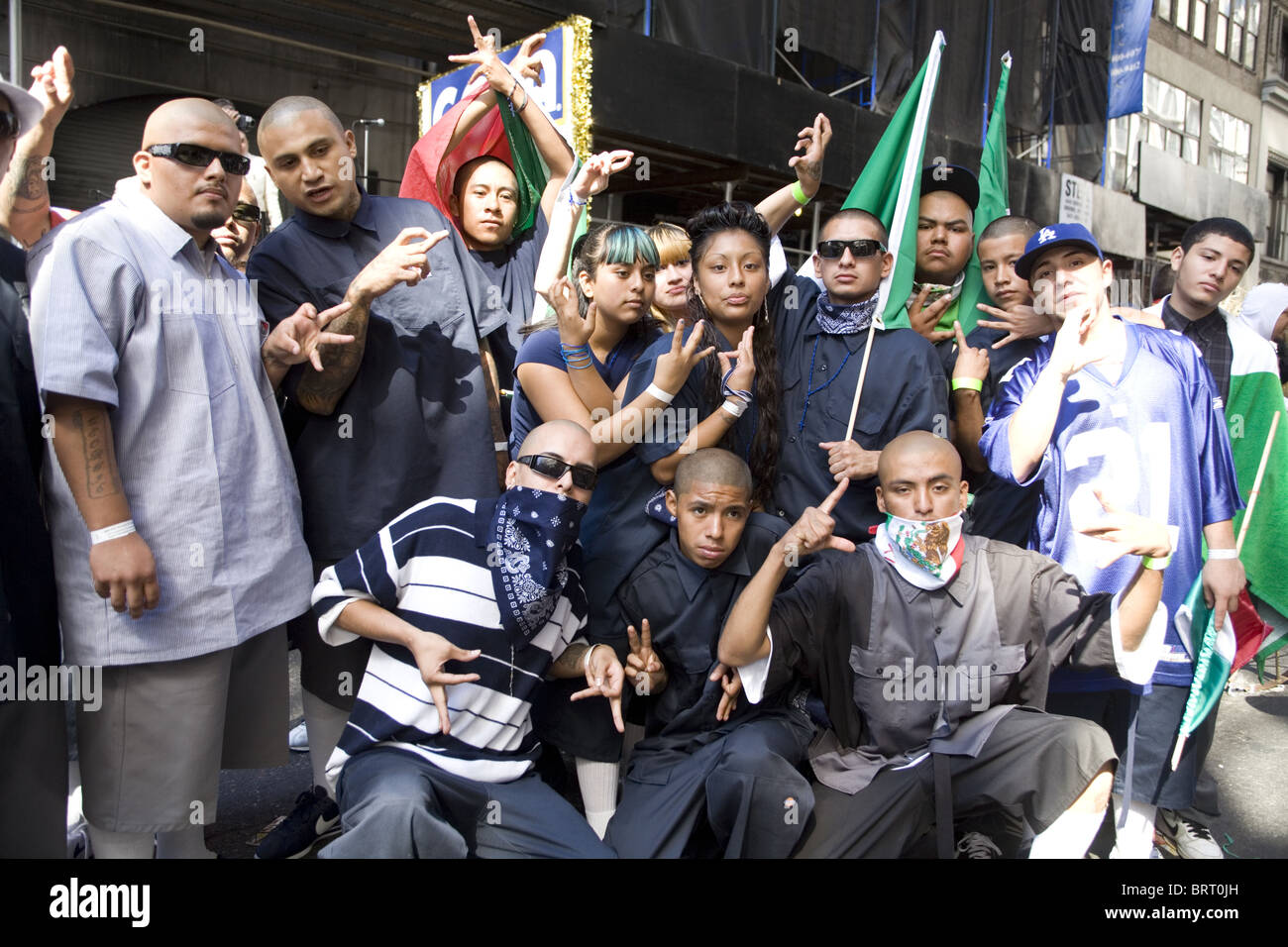 Members Of The Azteca Gang Celebrate The Mexican Independence Stock Photo