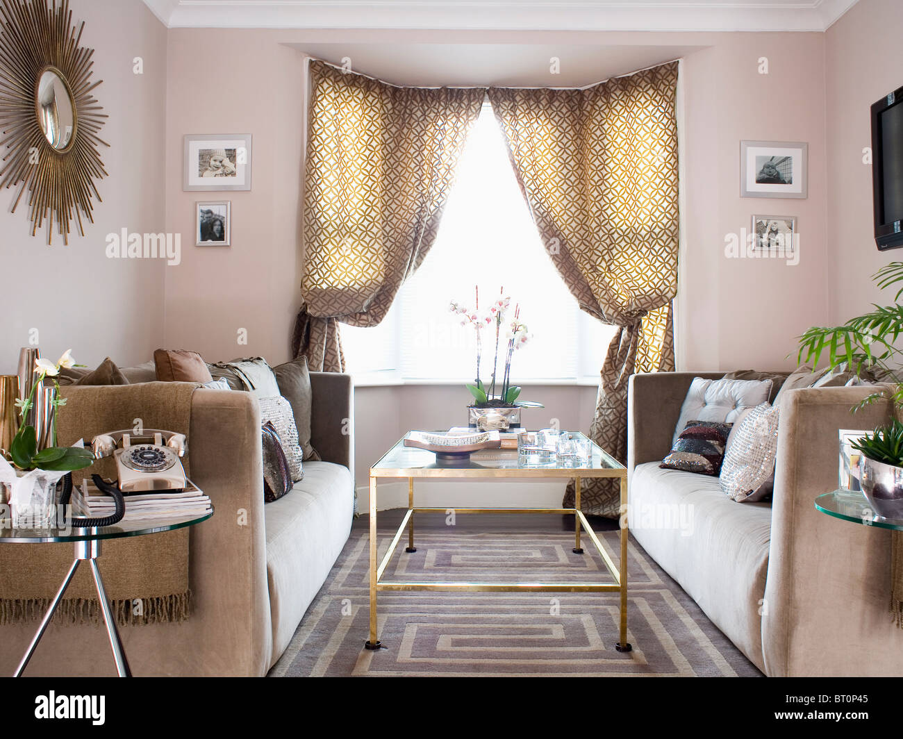 patterned curtains for living room kmart furniture sets on window in modern beige with stock rug and glass topped table velour sofas