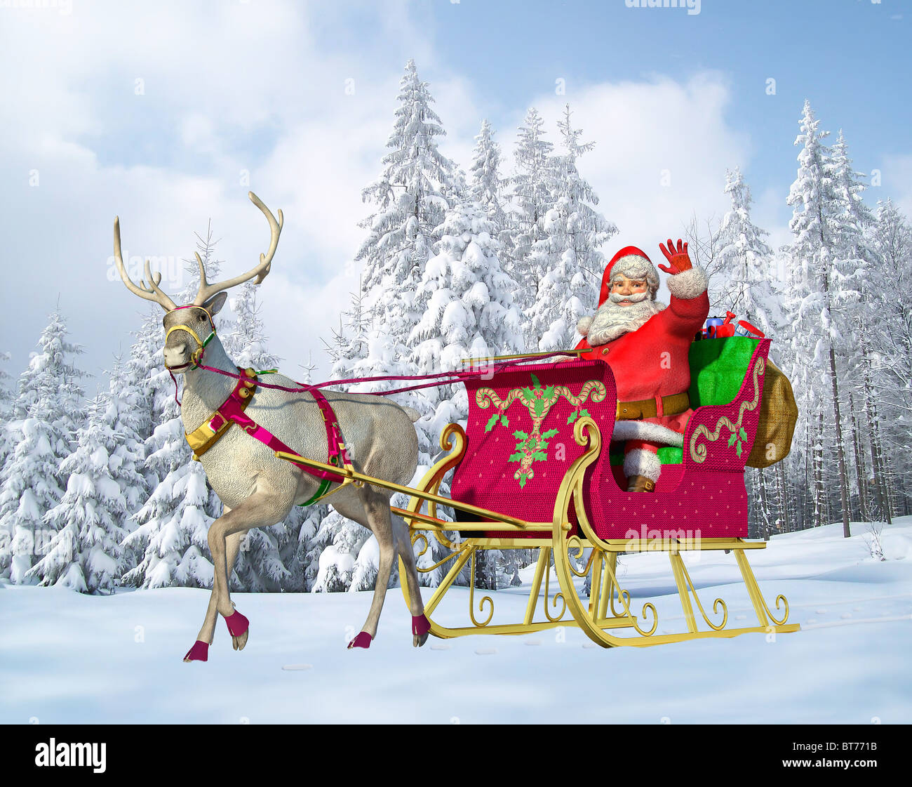 Santa Claus Driving A Sleigh With Reindeer On A Snowy