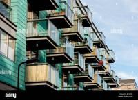 Balconies of modern apartment block, Islington, London ...