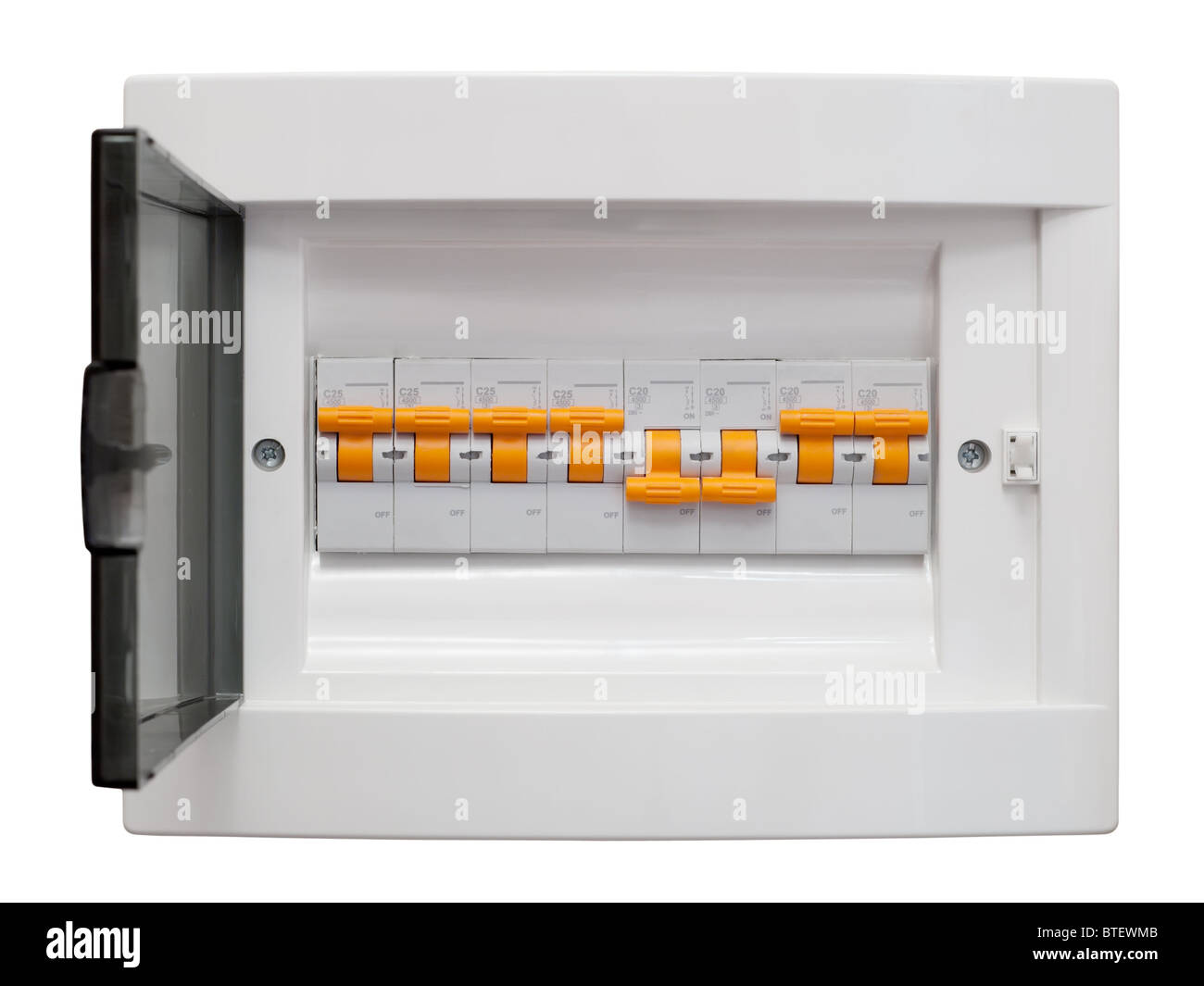 hight resolution of electricity distribution box fusebox isolated on white background with clipping path stock