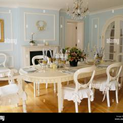 Blue And White Dining Chairs Chair Gym Deluxe Painted Cream Table With Cushions In