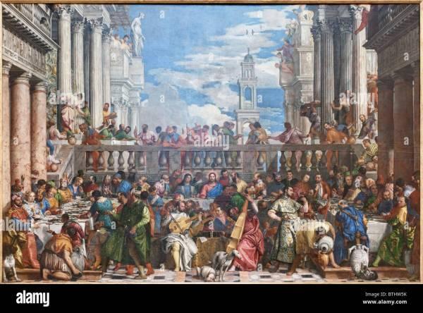 Wedding Feast Cana Paolo Caliari Veronese Louvre Museum Paris Stock 32355055 - Alamy