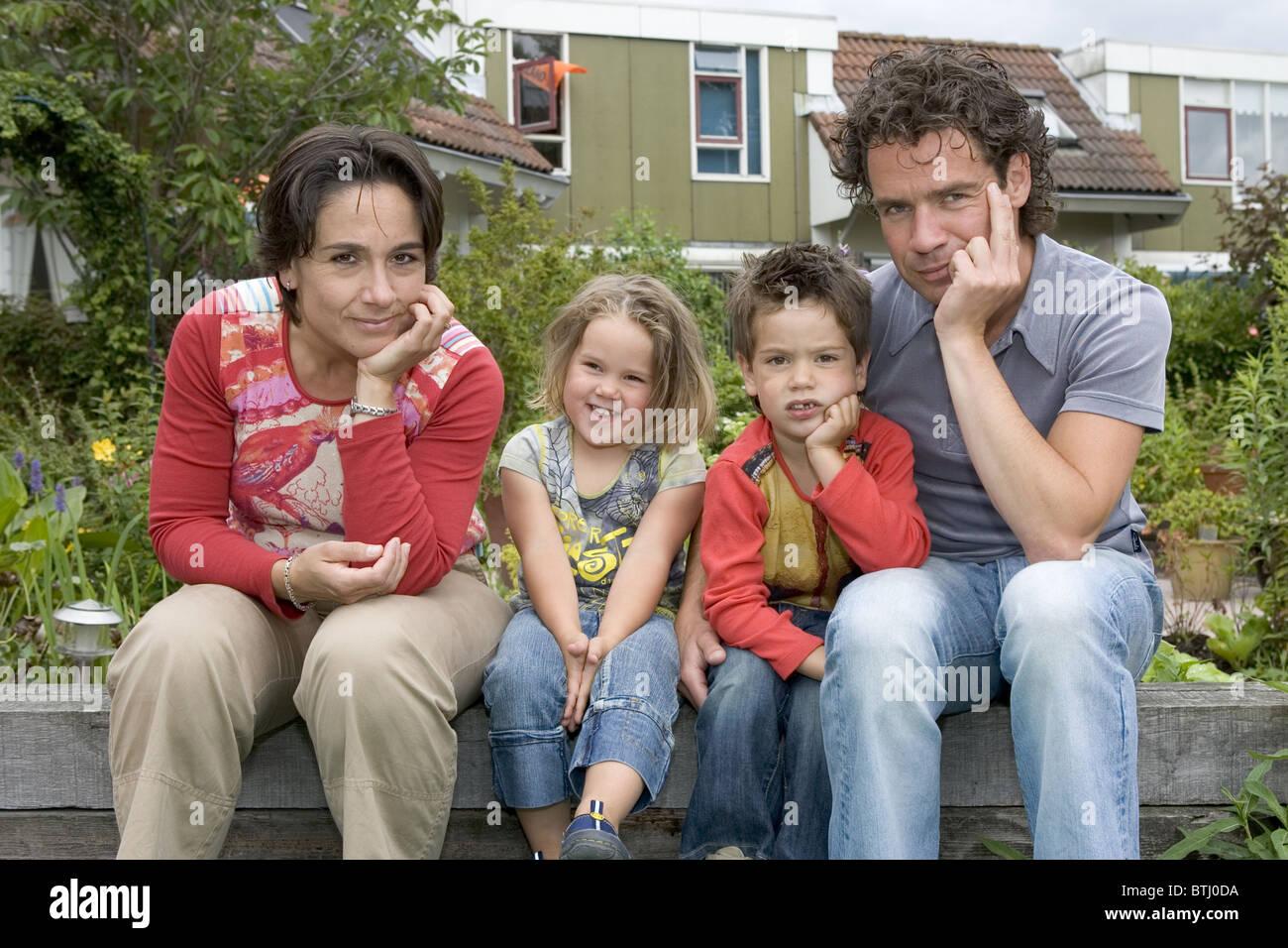 Nuclear Family Portrait Stock Photo