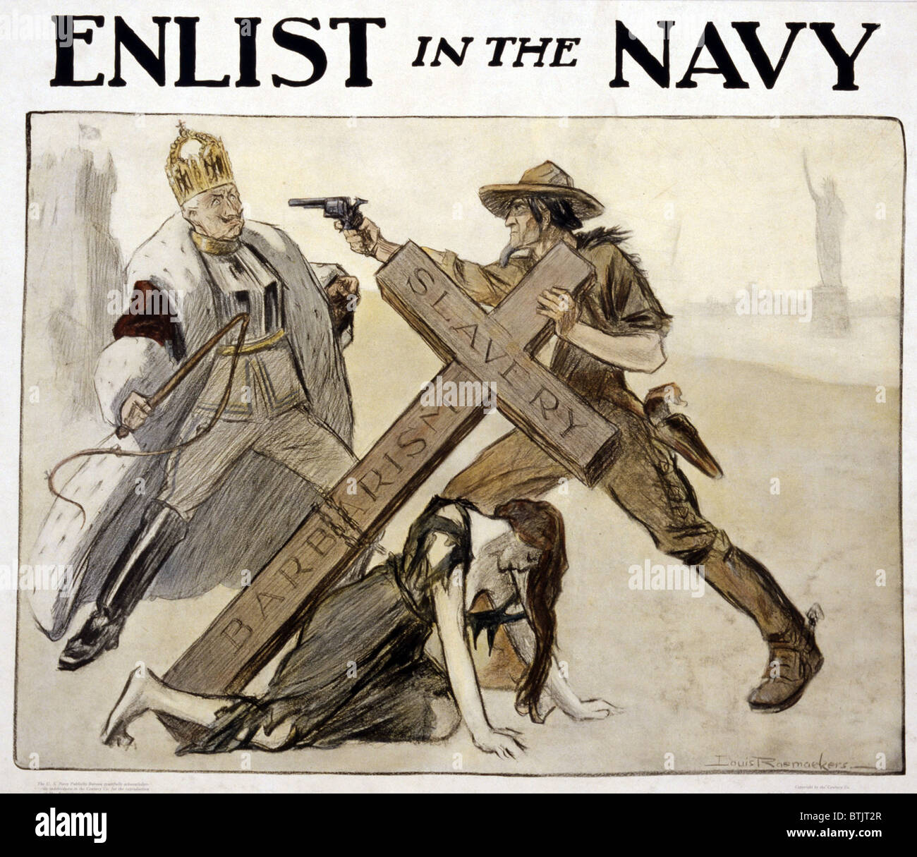 World War I American Recruitment Poster For Us Navy Shows Uncle Sam Stock Photo Royalty Free