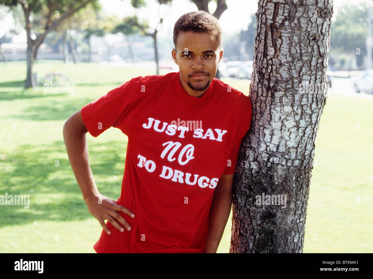 Black Boy Teen Male Just Say No To Drugs Shirt Red Wear Support Fight Stock Photo Royalty Free