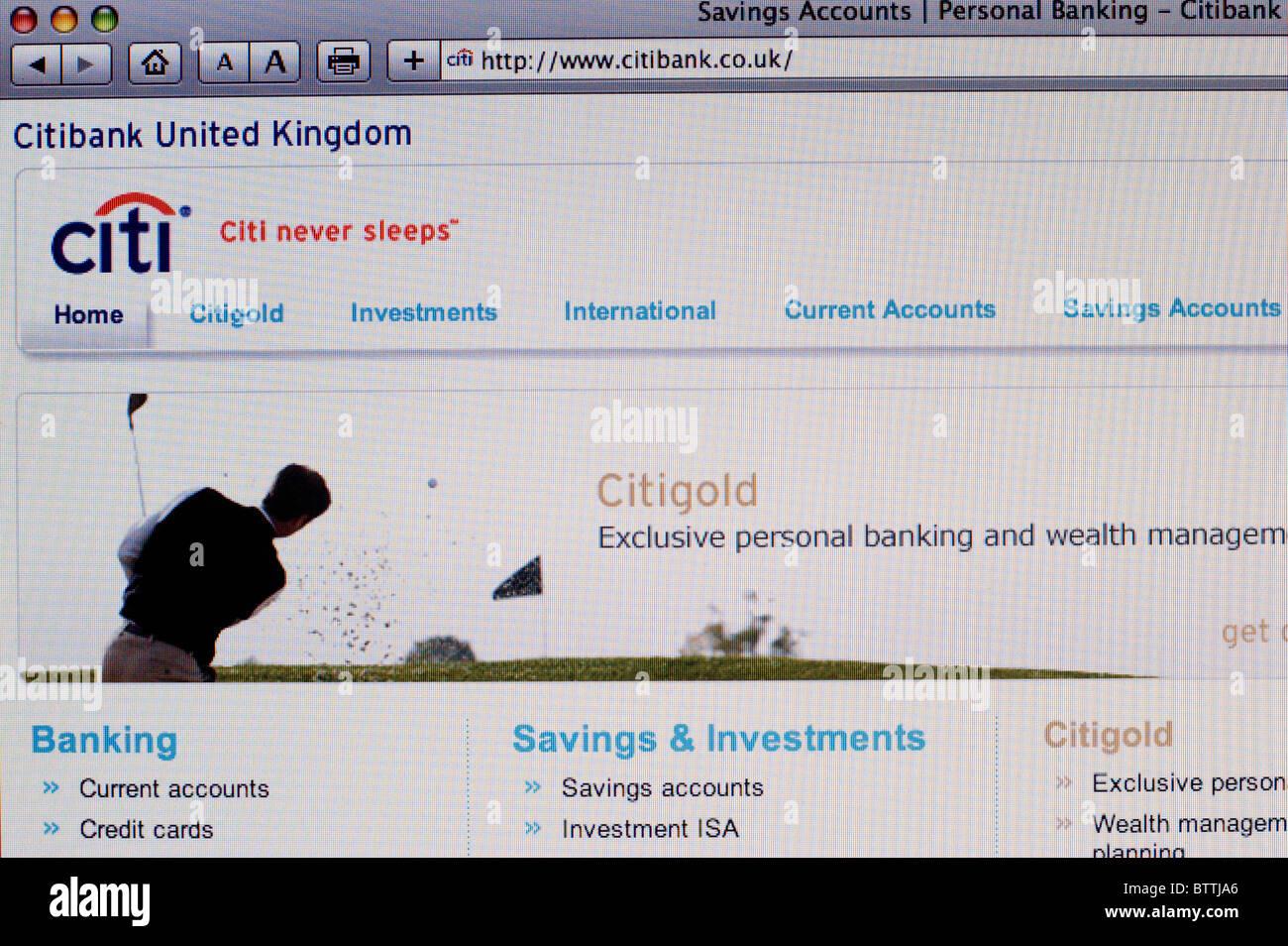 Screenshot Of Citibank Uk Internet Banking Website Stock Photo Alamy