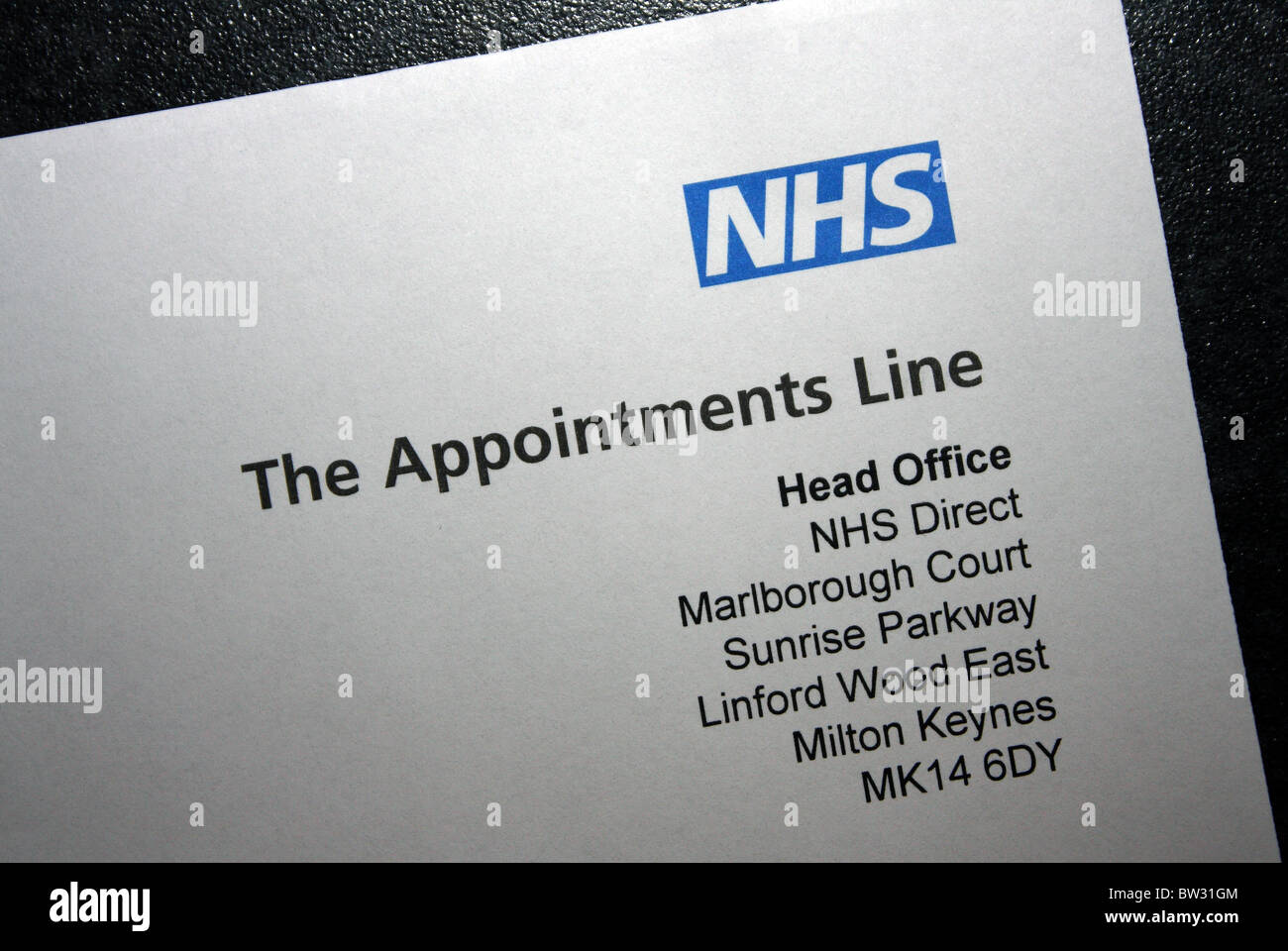 A NHS Direct letterhead containing their address and NHS logo Stock Photo Royalty Free Image
