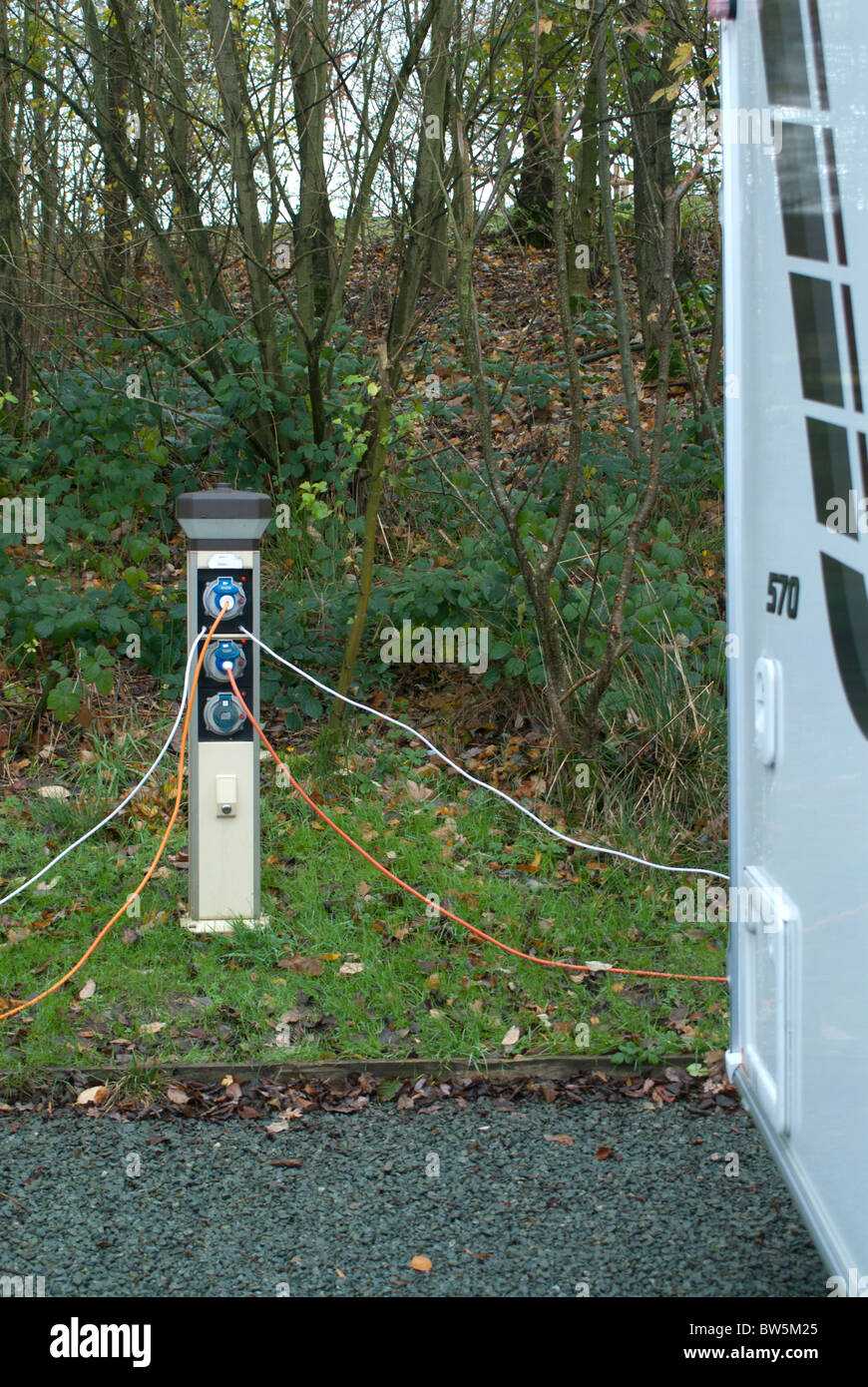 hight resolution of caravan electric hook up stock image
