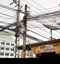 a confusion of telephone wires in vientiane capital of laos stock image [ 1300 x 956 Pixel ]