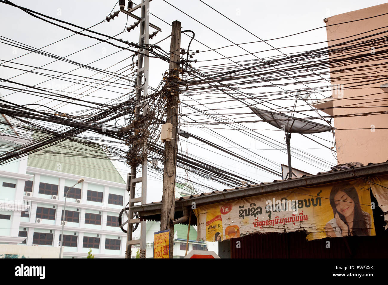 hight resolution of a confusion of telephone wires in vientiane capital of laos stock image