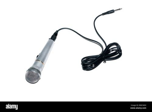 small resolution of audio microphone with cable and connector isolated on white background stock image