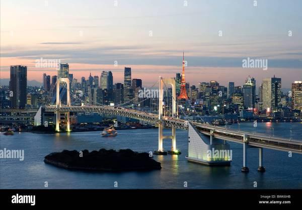 Japan Asia Tokyo Minato-ku Tower Rainbow Bridge