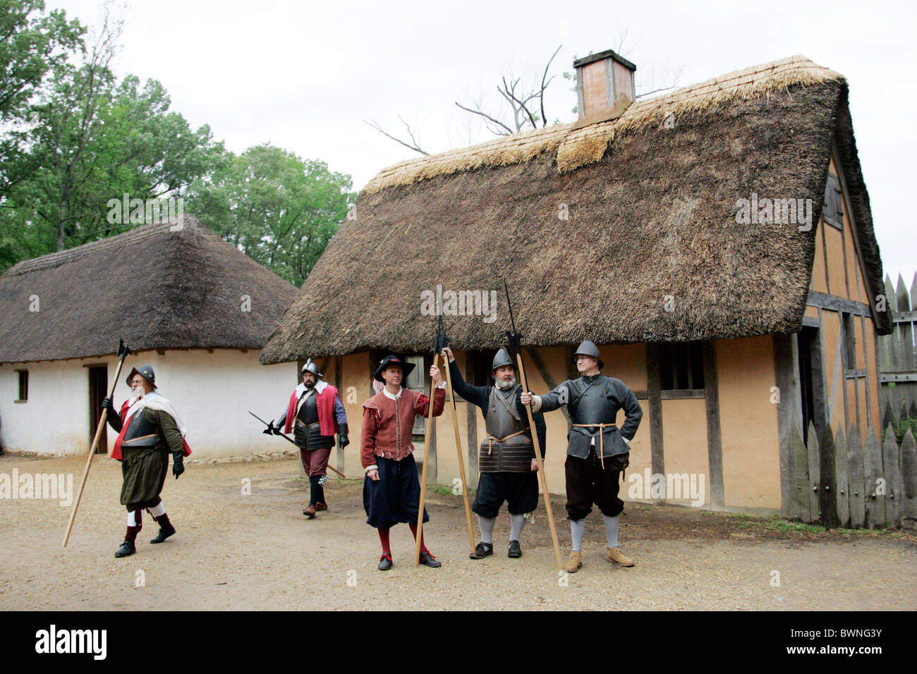 Men In Historic Costume At Jamestown Settlement Stock
