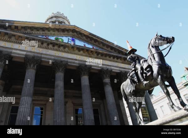 Duke Of Wellington Statue Modern Art Glasgow With Stock Royalty Free