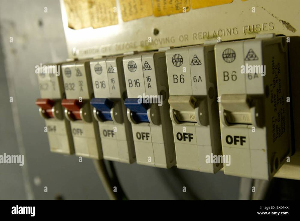 medium resolution of old electrical installation with fuse box stock image