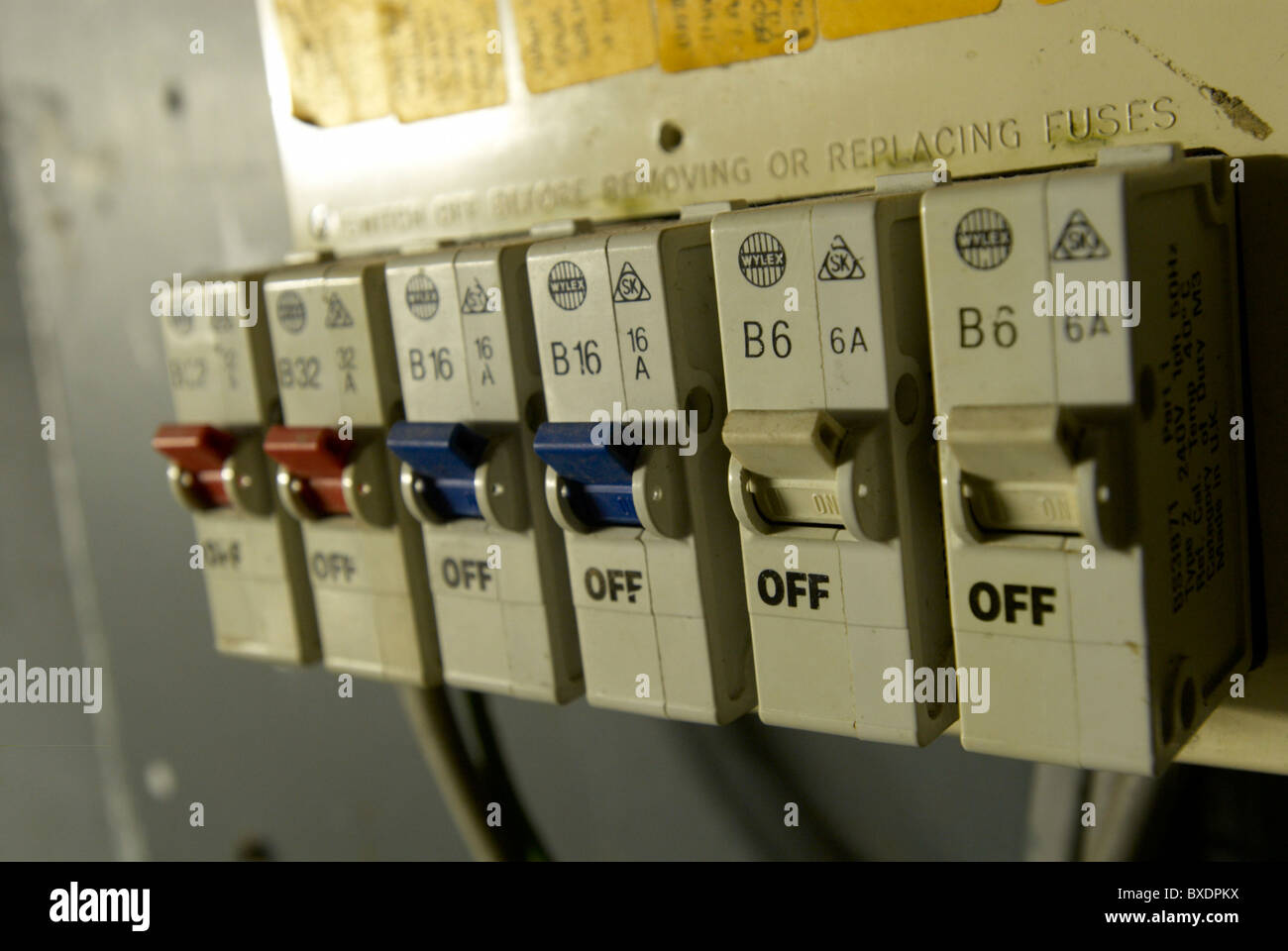 hight resolution of old electrical installation with fuse box stock image