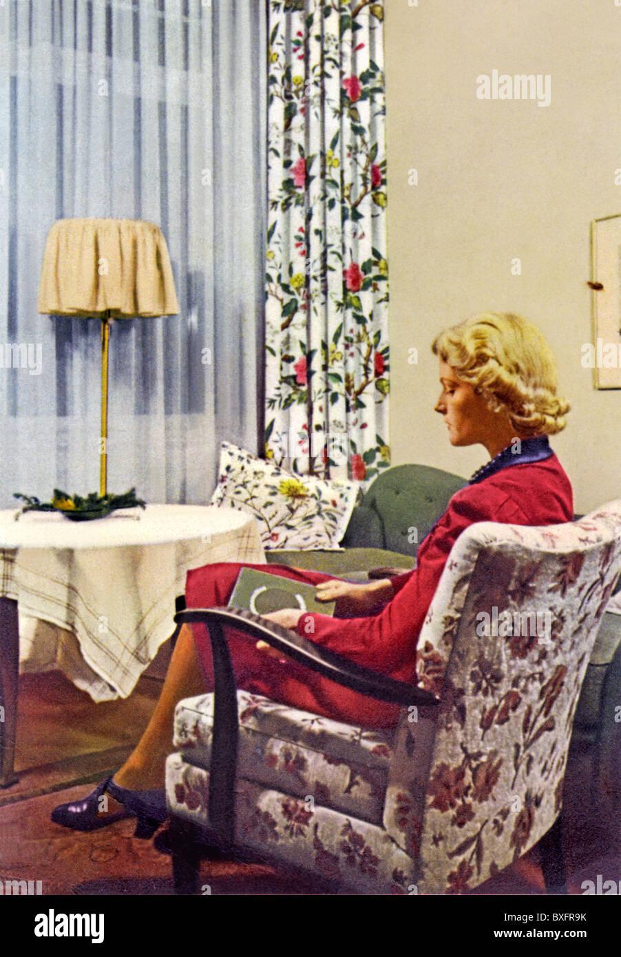furnishings woman sitting in livingroom advertising for