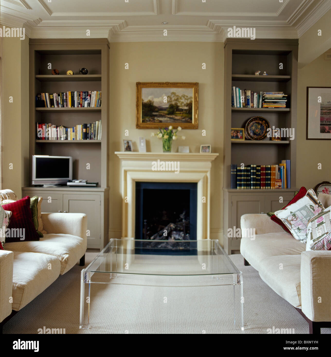 furniture ideas for living room alcoves restaurant abu dhabi modern perspex table and cream sofas in traditional with alcove shelves on either side of fireplace