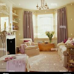 Cream Living Room Curtains Simple False Ceiling Designs For Small Textured Carpet In With Pale Mauve Silk And Sofa Armchair