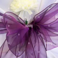 Cream Chair Covers For Weddings Folding Beach Lounge Chairs Wedding Cover With Purple Ribbon And Carnation Flower