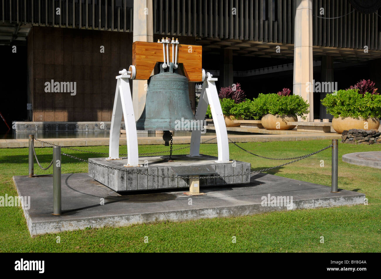 Liberty Bell Replica State Capitol Building Downtown Honolulu Hawaii Stock Photo