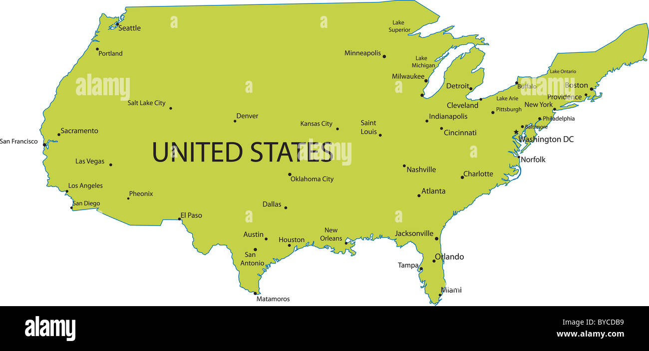 Map Of United States Of America With Major Cities Vector Stock Photo Alamy