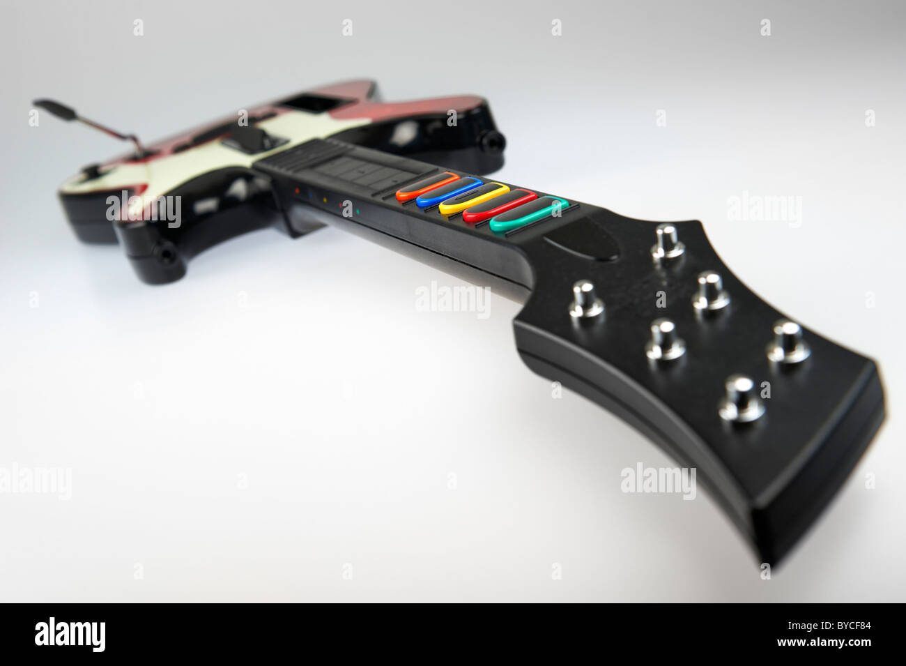 hight resolution of band hero guitar controller from the video game franchise guitar hero stock image