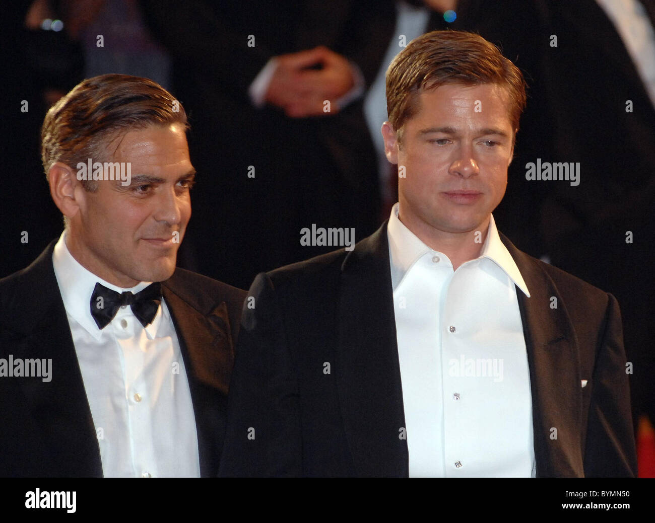 George Clooney and Brad Pitt 2007 Cannes Film Festival Day 9 Stock Photo: 34261724 - Alamy