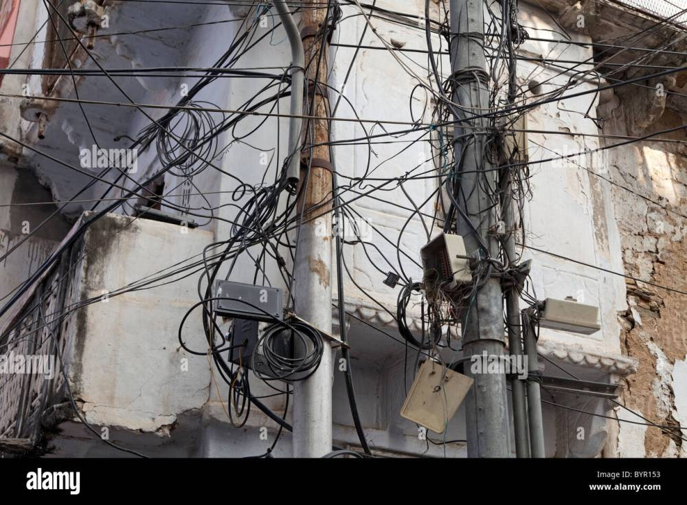 medium resolution of india rajasthan udaipur jumbled telephone wires stock photo central locking system wiring