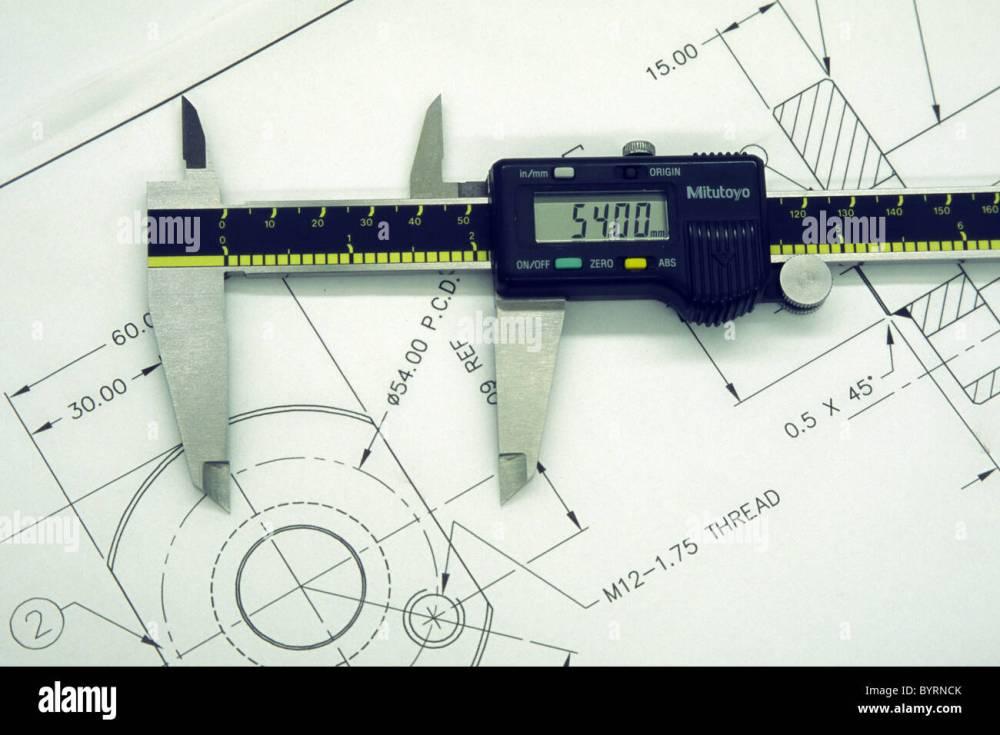 medium resolution of digital vernier caliper on an engineering drawing stock image