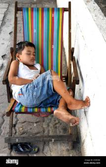 Child Sleeping In Chair Manila Philippines Southeast