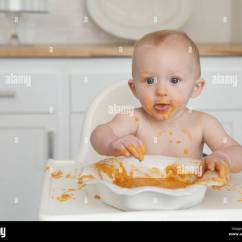 Baby Eating Chair Navy Blue Velvet Club Messy In High Stock Photo 34721055 Alamy