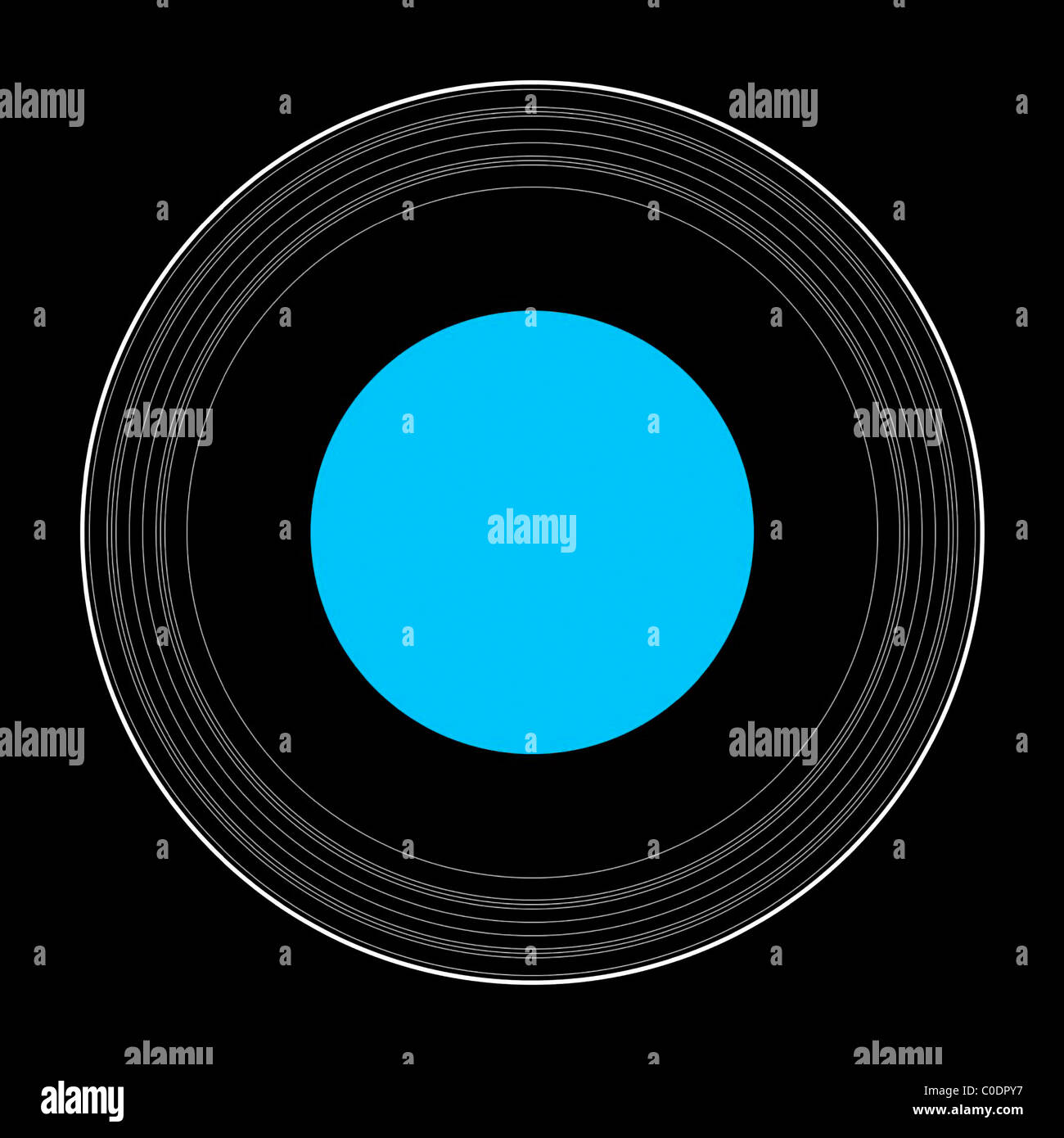 hight resolution of an illustration showing the details of the rings of uranus stock image