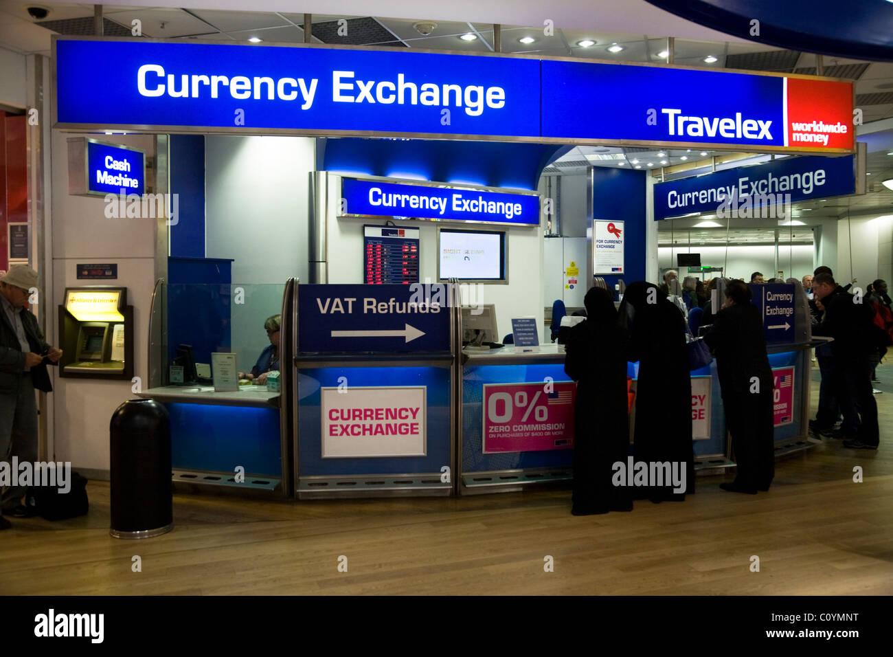 bureau de change office operated by travelex at heathrow airport terminal 3 three london uk