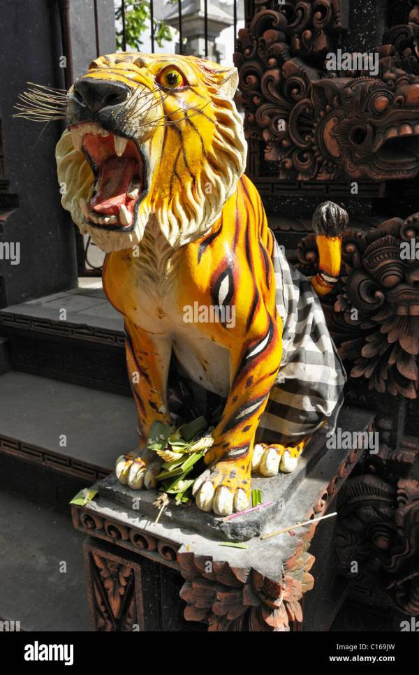 Statue Of Tiger Stone In Front Temple Gate Stock 35174689 - Alamy
