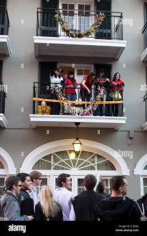 Orleans Bourbon Street Balcony Stock &