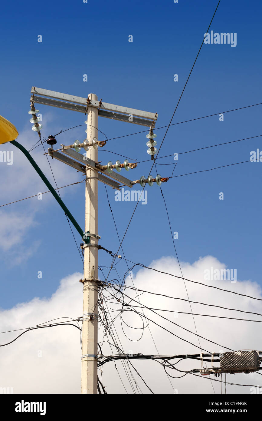 medium resolution of electric tower messy electrical wiring installation in mexico stock image