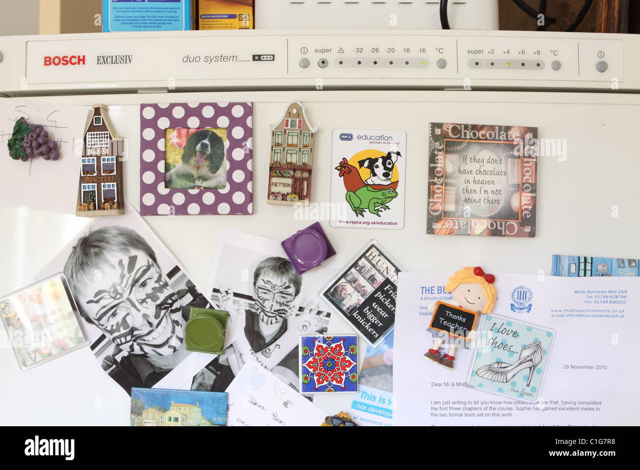kitchen magnets reclaimed wood cabinets refrigerator stock photos fridge home reminders image