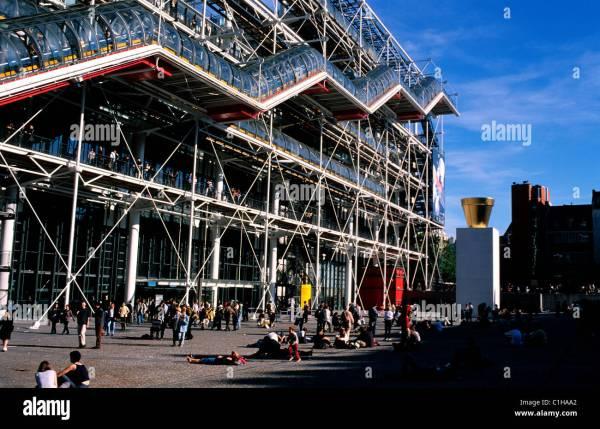 France Paris Beaubourg Georges Pompidou Centre Modern Art Museum Stock Royalty Free