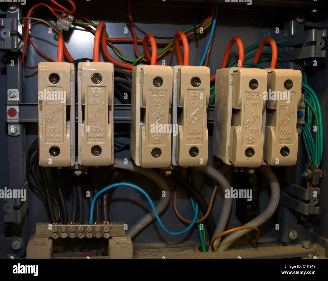 hight resolution of electricity mains fuse old type ceramic domestic connectors fuse board stock image