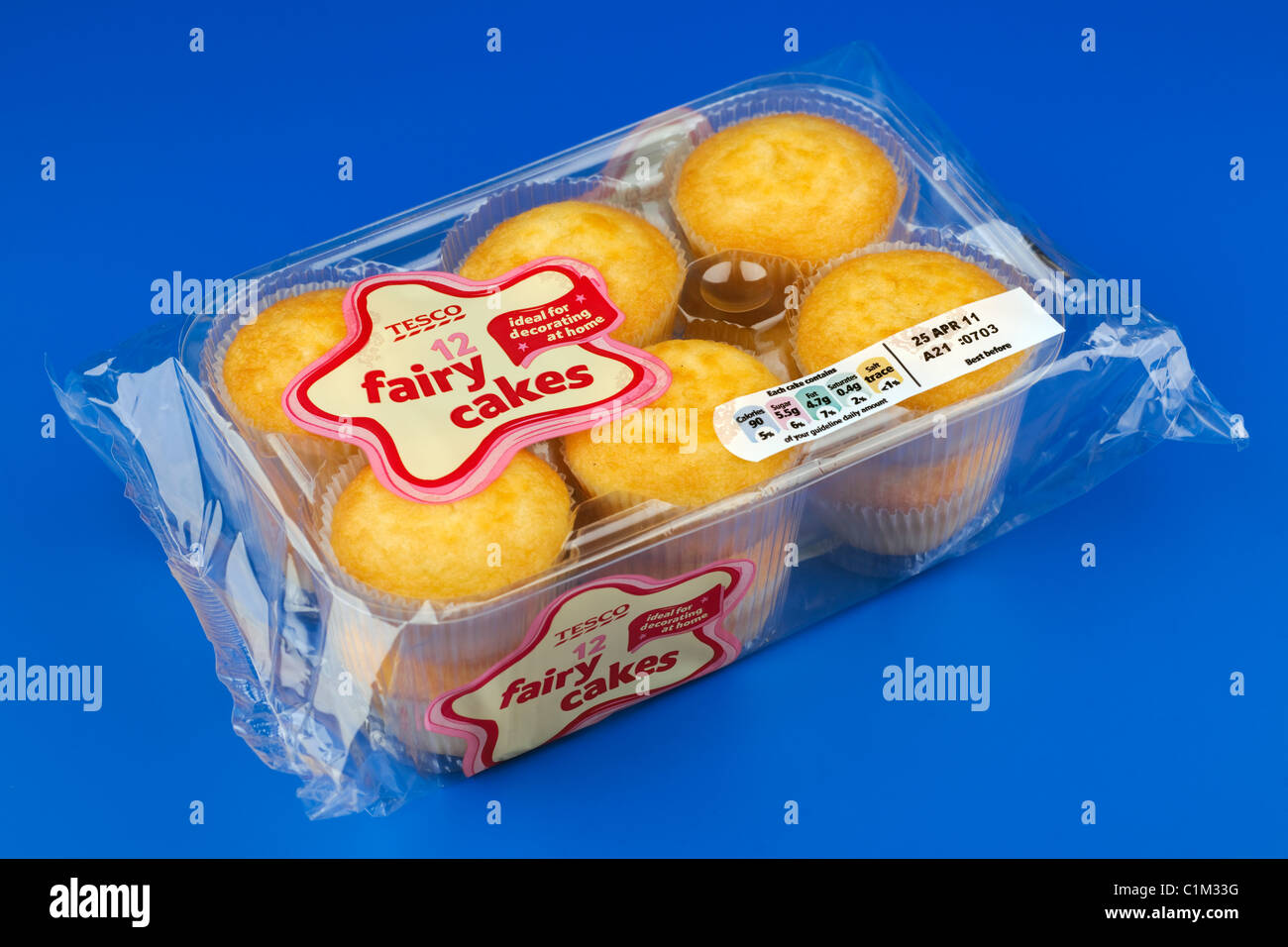 Cellophane Packet Of 12 Tesco Fairy Cake Buns Stock Photo 35476884