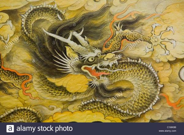 Chinese Dragon Painting Stock &