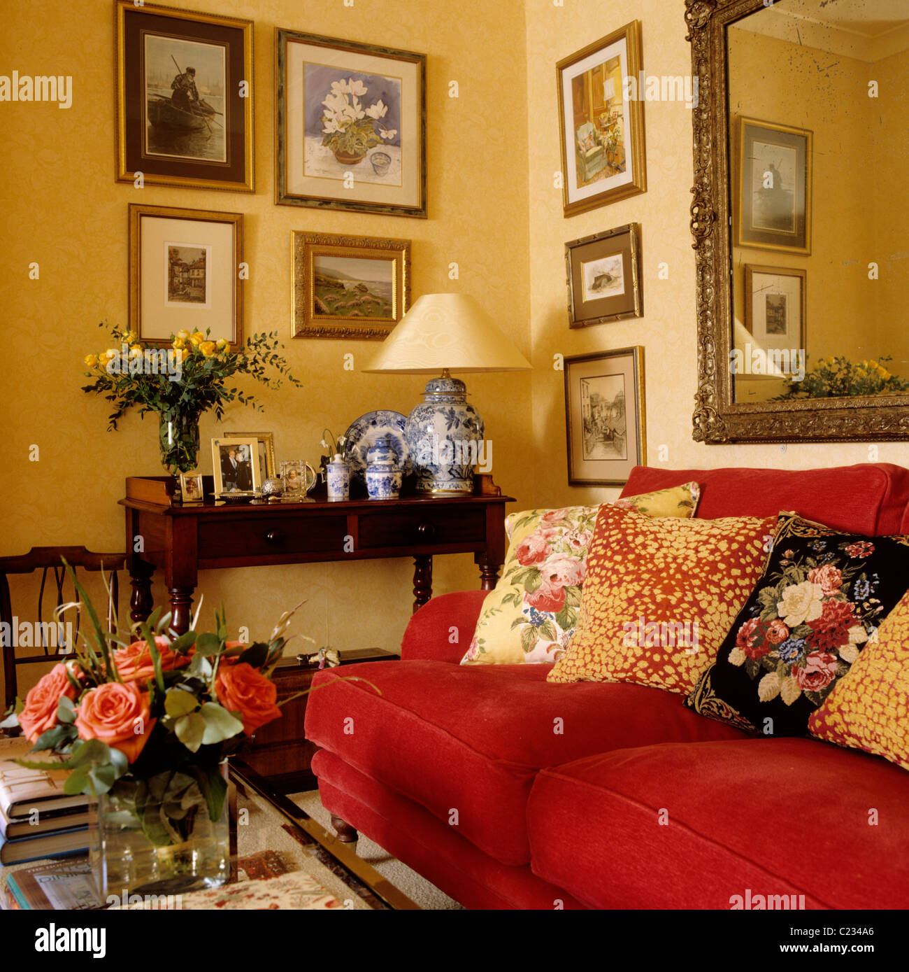 Patterned cushions on red sofa in living room with a
