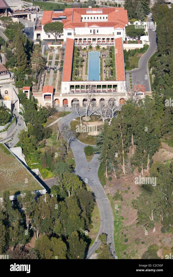 Paul Getty Museum Villa Aerial View Malibu Los Stock Royalty Free