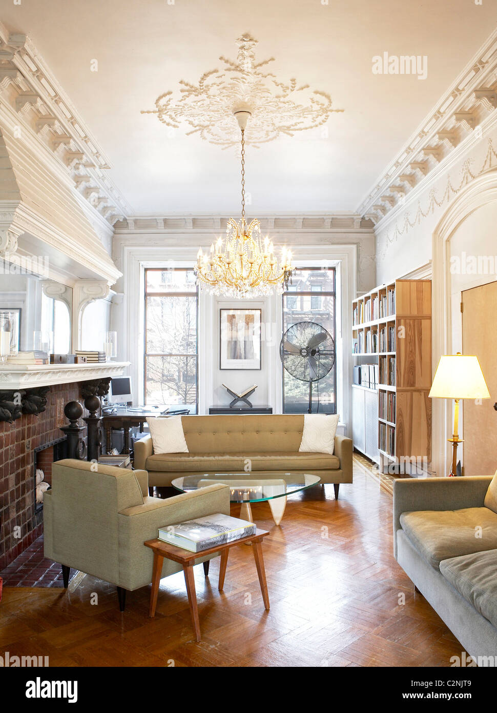 living room furniture brooklyn dark gray sofa ideas brownstone with white painted ceiling mouldings parquet floor chandelier and mid century