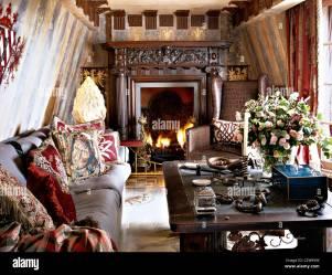 Gothic style sitting room medieval romantic Stock Photo Alamy