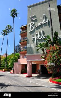 Beverly Hills Hotel Sunset Boulevard Stock
